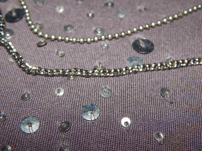 Velvet Cap-sleeve Embellished Sequin Chains Beads Viscose Top gray