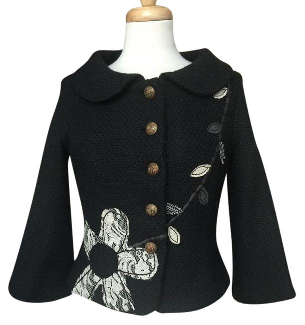 Item - Black White And Anthropologie Black/White 3/4 Sleeve Wool Blend Lace Floral S Jacket Size 4 (S)