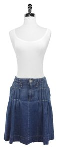 Burberry London Pleated Detail Denim Skirt Blue