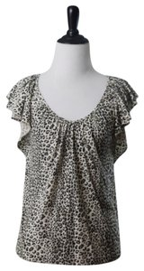 Rebecca Taylor Top Ivory Brown Black