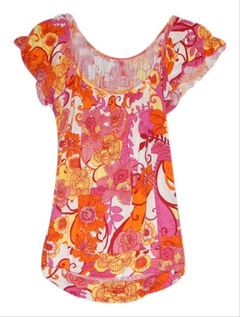 Eight Sixty Bright Floral Flowy Ruffle Rayon T Shirt Pink and Orange and Yellow