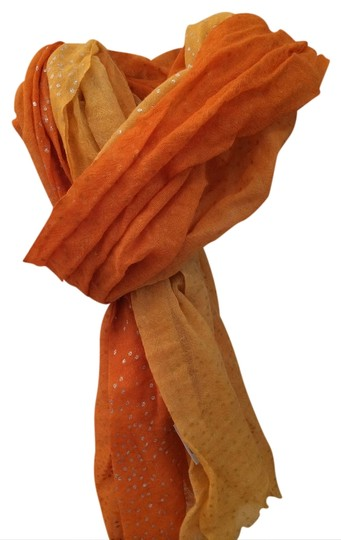 Anthropologie Anthropology Tangerine Ombre Scarf with Silver Speckled dots