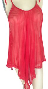 Valentino Authentic VALENTINO Intimo red 100% polyester sheer pleated laced negligee, size small, NEW