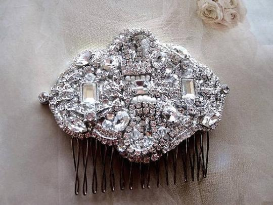 Vintage Inspired Crystal Comb Brooch Hair Accessory