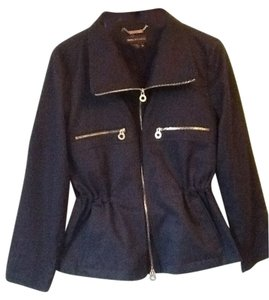 Dana Buchman Zipper Detailing Navy & Gold Jacket