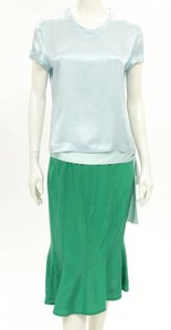 Saint Laurent YSL Yves Saint Laurent 2Pcs Aqua Silk Blouse & Green Skirt