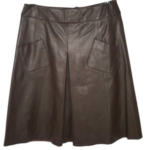 Etcetera Leather A-line Skirt Brown