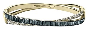Michael Kors NWT Michael Kors Gold Clear Pave & Montana Blue Baguette Crossover Hinge Bangle