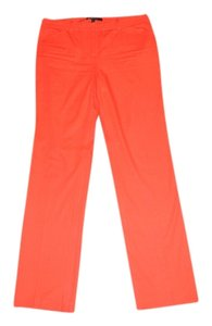 BCBG Max Azria Button Pockets Cotton Spandex Straight Pants Orange