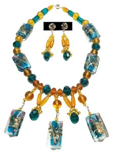 Custom Amber & Teal Necklace and Earrings [ Roxanne Anjou Closet ]
