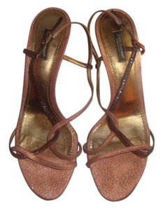 Dolce&Gabbana Rose Gold/Brown Snakeskin Sandals