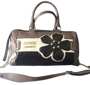 Guess Satchel in Black, White And Grey/brown