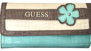 Guess Wristlet in Teal, White And Grey/brown