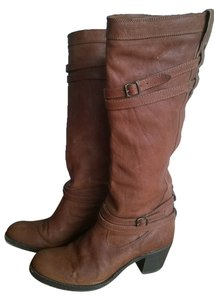 Frye Slouch Buckles Tan Chesnut Brown Boots