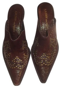 Kathy Van Zeeland Studded Embellished Brown Studded Mules