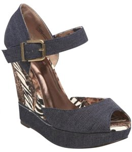Bucco Denim Wedges