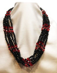 Faux Jet & Ruby Bead Necklace [ Roxanne Anjou Closet ]