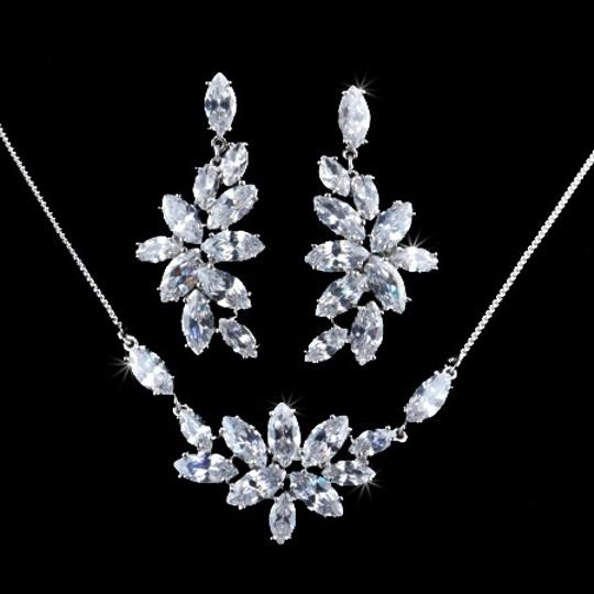 Preload https://img-static.tradesy.com/item/1002304/white-flower-marquise-cut-swiss-cubic-zirconia-diamond-necklaces-and-earrings-jewelry-set-0-0-540-540.jpg
