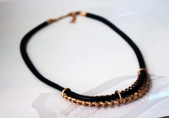Brass Gold Tone Crystal Black Band Necklace Brass Gold Tone Crystal Black Band Necklace