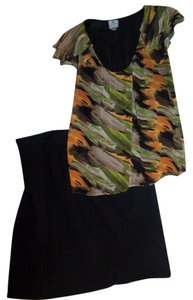 Fashion Bug Work Dress Skirt Top BLACK/ORANGE/LT TAN