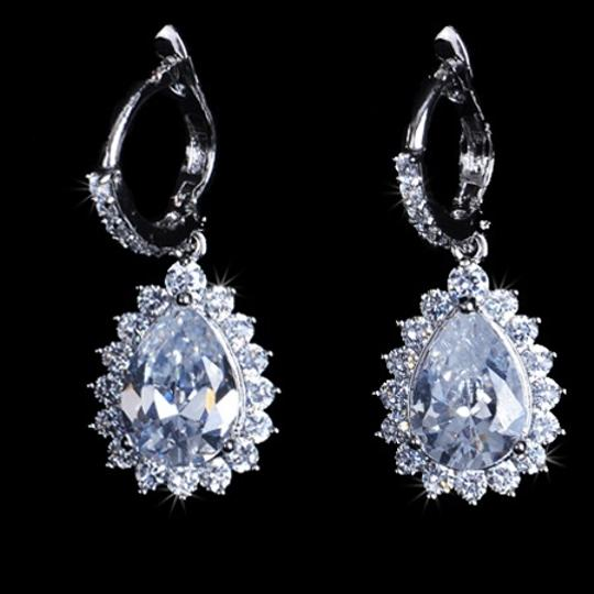 Vintage Water Drop Top High Quanlity Cz Diamond Brinco Earrings For Wedding Party