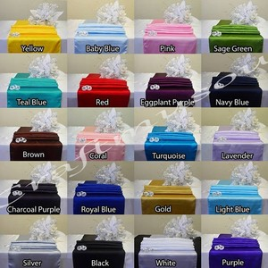 """Multiple Colors 12""""X108"""" (Set Of 5) Satin Table Runner For Party Banquet 20+ Tablecloth"""