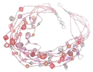 Other Pink, Peach, Purple Heart Charm Glass Vintage Necklace