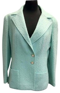 Chanel Graffiti Coat Jacket Teal Blazer