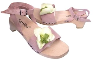 Sanita Pink Orchid Flower Front Mules