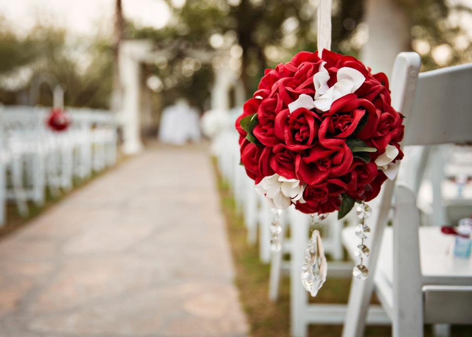 Red Amp Ivory Centerpieces Wedding Flowers Roses And Carnations Pomander Kissing Ball