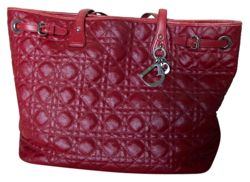 b28ee1b7d053 Dior Christian Medium Panarea Red Coated Canvas Cannage Quilted Tote ...