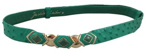 Judith Leiber Judith Leiber Ostrich Peacock Green Leather Belt