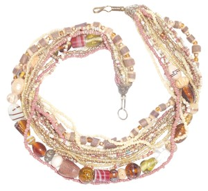 Other Wood And Glass Bead Vintage Multi Strand Necklace In Tans and Whites