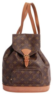Louis Vuitton Montsouris Mm Leather Canvas Classic Backpack