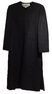 Mary McFadden Quilted Full Length Evening Coat Top Black