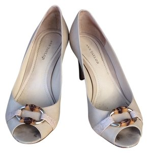 Ann Taylor Dress Sandal Summer Night Out Low Heel Leather White Pumps