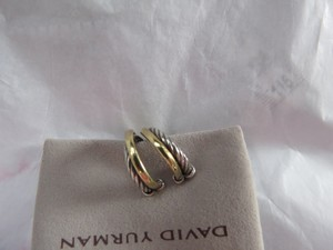 David Yurman Crossover Collection - Crossover Open Hoop Earrings with Gold