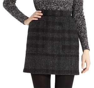 Burberry Wool Mini Black Mini Skirt Black, Grey