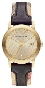Burberry Burberry Women's The City Brown Leather Gold Tone Stainless Steel Watch BU9032