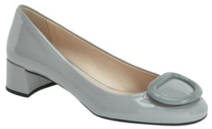 Prada Block Heel Heel Patent Leather Career Chunky Gray Pumps
