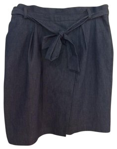 Adrianna Papell Pockets Denim Wrap Bow Belt Skirt denim blue
