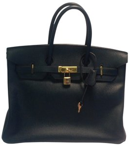 Hermès Vintage Birkin Gold Toned Hardware Satchel in Navy