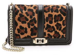 aabe4d0ef1 Rebecca Minkoff New  love  Leopard Print Calf Hair with Chain Strap Black Brown  Camel Leather Cross Body Bag