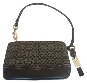 Coach Cosmetic Wallet Leather Fabric C Signature Wristlet in Black