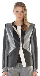 Stella & Jamie Leather Color-blocking Black/White/Heather Grey Leather Jacket