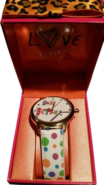 Item - Gold Tone White Multicolored New Crystal Watch