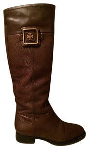 Tory Burch Riding Tall Leather Dark Brown Boots