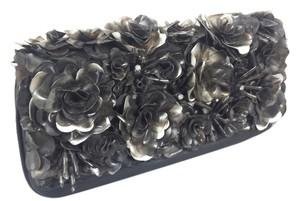 Flower Diamond Clutch Leather Hardware Chain Stone Evening Cocktail Holidays Ornate Unique Black and Silver Clutch