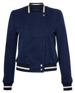 French Connection Classic Cotton Baseball Varsity Bomber Nocturnal Blue Jacket