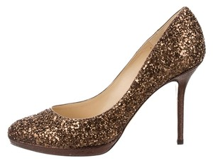 Jimmy Choo Esme Glitter Brown Pumps